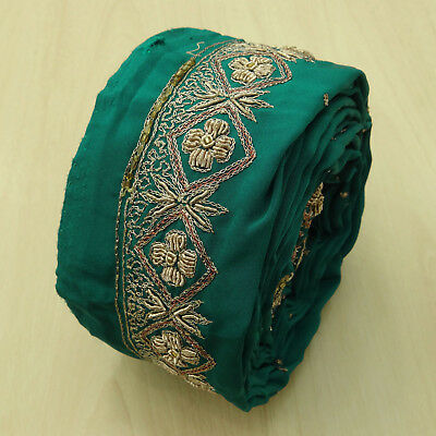 Antique Indian Vintage Embroidered Border Green Sari Ribbon Trim Sewing 1yd Lace