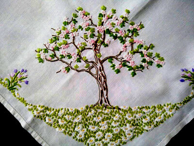 Exquisite Blossom Trees/Daisies&Spring Bulbs ~3D Lge Hand Embroidered Tablecloth