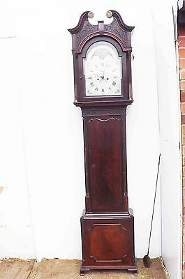 long case clock mahogany Chipendale styled case moon roller 8 day Bristol maker.