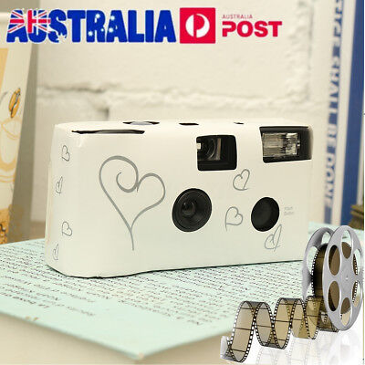 1 x HEARTS DISPOSABLE 36exp WEDDING Bridal CAMERA WITH FLASH AND TABLE CARD