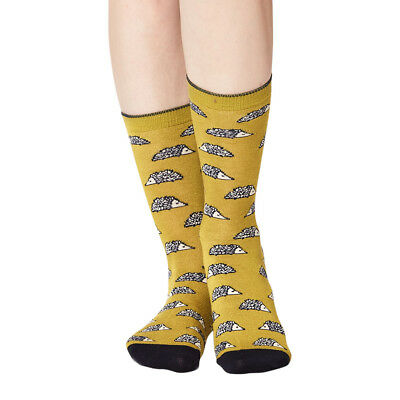Hedgehog women's super-soft bamboo crew socks, lichen | By Thought