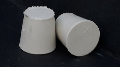 15mm Bottom to 21mm top Diameter Solid White Rubber Bungs Brand New Pack of 2