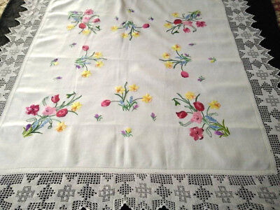"Fabulous Spring Flowers ~ Raised Vintage Hand Embroidered Tablecloth 57.5"" Sq"