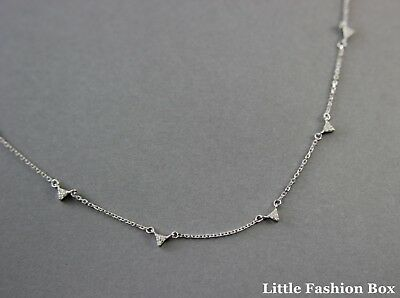 925 Sterling Silver Cubic Zirconia Tiny Triangle Delicate Necklace UK New 1.61g