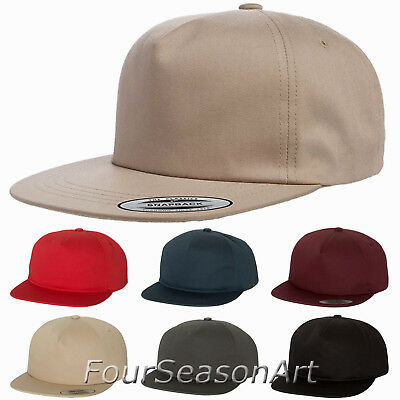 New for 2018! Yupoong Unstructured 5-Panel Snapback Cap softstrucutred Hat 6502