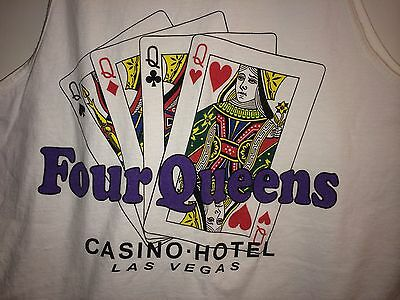 Four Queens Vegas Casino Hotel Playing Cards On Tank Top Sz L Shirt 4 Vtg?