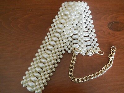 "Vintage 2"" Wide Strand faux Pearl Bead & Gold Tone Chain Belt"