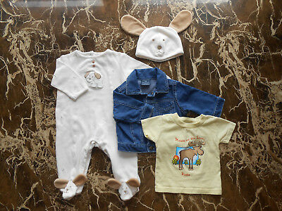 Baby Unisex Fall Lot of 3 ~ Sleeper and Hat, Jacket, Shirt 3-6 Months GUC