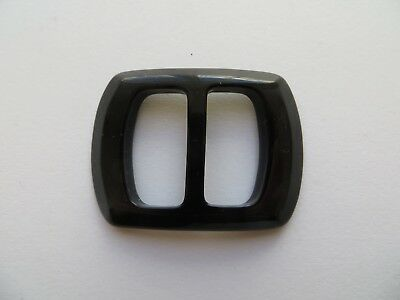 1960s Vintage Med Rectangular Glossy Black Ladies Belt Dress Buckle-4.8cm