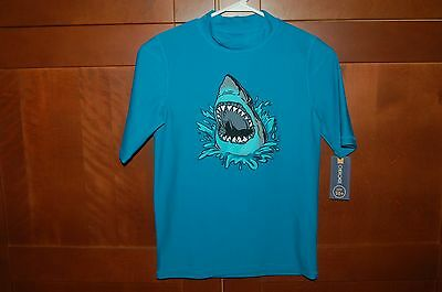 SHARK SWIM SHIRT Blue Size L (12/14) Child UPF 50+ UV Protection by Cherokee NWT