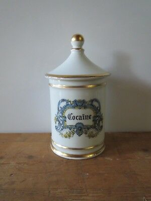 French porcelain apothecary pharmacy jar 'Cocaine' by DT France