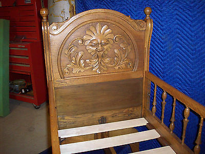 Ornate Oak Carved Childs Cradle Crib Dolls Bears Victorian