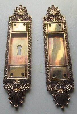Fancy Set Antique Victorian Polished Brass/bronze Pocket Door Pulls # 3 Bargain!