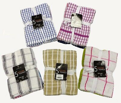 Pack Of 5 Terry 100% Cotton Tea Towels Set Kitchen Dish Cloths Cleaning Drying