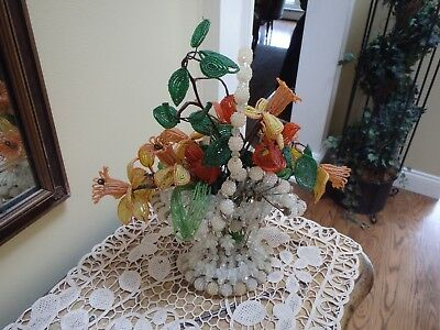 Vintage 1960s Decorative Handcrafted French Beaded Colored Flowers And Basket