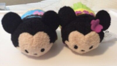 Disney Store Mickey And Minnie Hawaiian Tsum Tsum Authentic