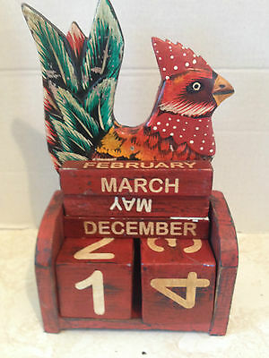 Vintage Wood Perpetual Calendar with Rooster Tiles Months Days