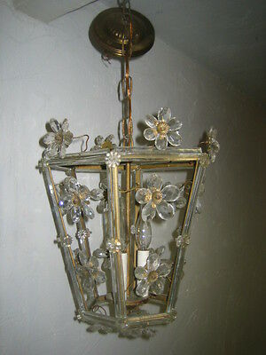 RARE english lantern wrought iron chandelier with crystal prisms