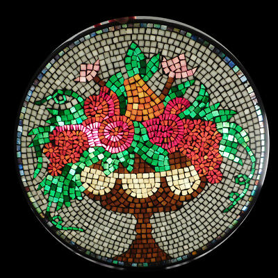 """18"""" Round Stained Glass Mosaic Tile Window Architectural Victorian Flower Basket"""