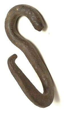 """Authentic Antique Primitive Hand Forged Iron Hook 5-6"""" twisted hitch harness"""