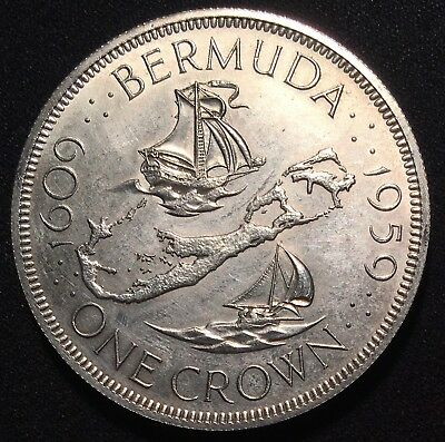 1959 Bermuda Sterling SILVER Crown 28G - 350th Anniversary of Founding Commem.