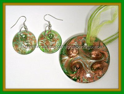 Glass Pendant Necklace & Earrings Set round circle swirl green brown gold glitte