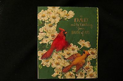 Vintage CARDINAL and DOGWOOD Birthday card for Dad c. 1940s american greetings