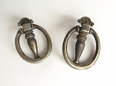 Pair of Vintage Drop Hoop Ring Drawer Pulls Shabby and Worn
