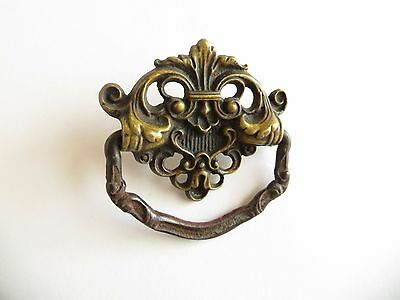Single Vintage Brass Drawer Pull with Bail Drop Handle