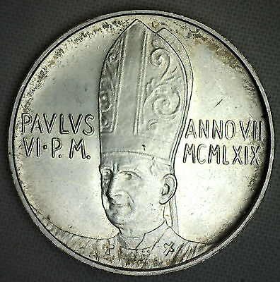 1969 Vatican City 500 Lire Silver Coin Uncirculated Lira Italy Angel Paul VI #R