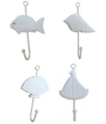 Set 4 Beach theme wall hooks wood metal decorative House Decor Boat Shells Fish