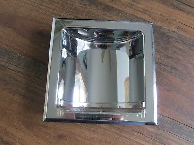 Vintage Recessed Chrome Soap Dish Holder,  Mid Century Bathroom Accessories