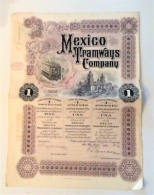 1910 Mexico Tramways Company - $100 in Gold, Uncancelled with Three Coupons