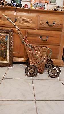antique metal carriage basket,stroller,woven,unusual,unique,Folding!