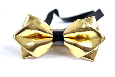 Mens PVC Faux Leather Gold Golden Shining Bow Tie Bowtie Bestman Wedding Party