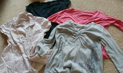 Huge lot of used maternity clothes size large long sleeves