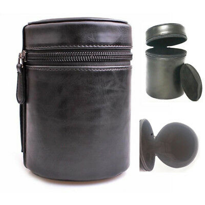 Universal Camera Lens Tube Case Bag Protector Cover Hard PU Leather with Zipper