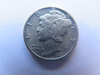 1938 S SAN FRANCISCO MINT USA MERCURY SILVER DIME in EXCELLENT CONDITION