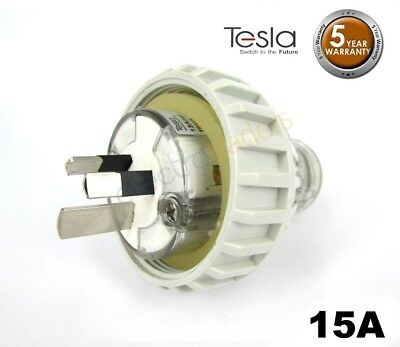 Tesla 15 AMP 3 Pin Flat Industrial Electrical Captive Plug IP66 Grey