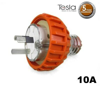 Tesla 10 AMP 3 Pin Flat Industrial Electrical Captive Plug IP66 Orange