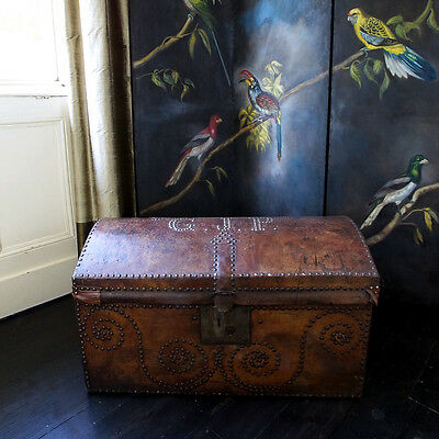 Antique Portuguese Leather Studded Trunk Treasure Chest