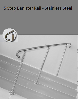 Hand Rail Banister Stainless Steel 2 Metre 5 Step Special Needs Aged Care Grab
