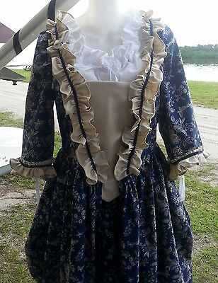 18 Century Historical Reproduction Polonaise Gown with stomacher and petticoat