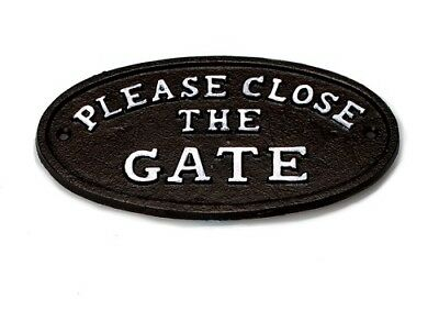 Please Close The Gate Garden Sign Cast Iron 7""