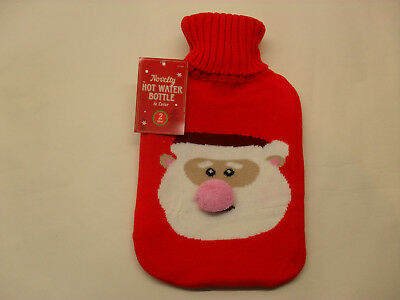 Large 2lt Hot Water Bottle With Knitted Christmas Covers