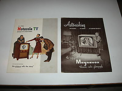 Two 1952, 1953 Motorola and Magnavox TV Television Brochures - FREE s/h in USA