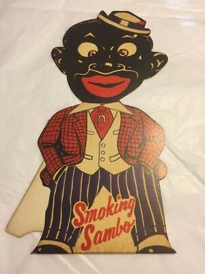 Vintage Smoking Sambo Die Cut Counter Display 10 X 5 1/2 Inches