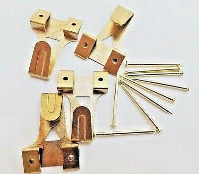 Picture Hooks Brassed Wall Hook Frame Hanger With Nails No 3 Size Choose Amount