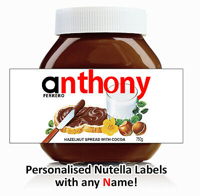 Nutella Labels Personalised x3 any name label 750g jar chocolate birthday gift