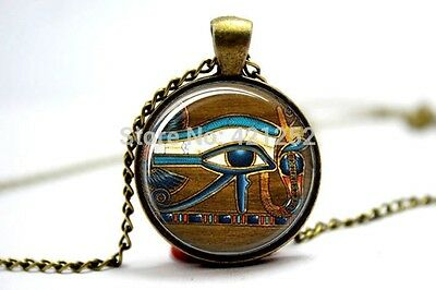 Glass Dome Cabochon Pendant Chain NECKLACE Gothic/ Steampunk Egyptian Eye Horus